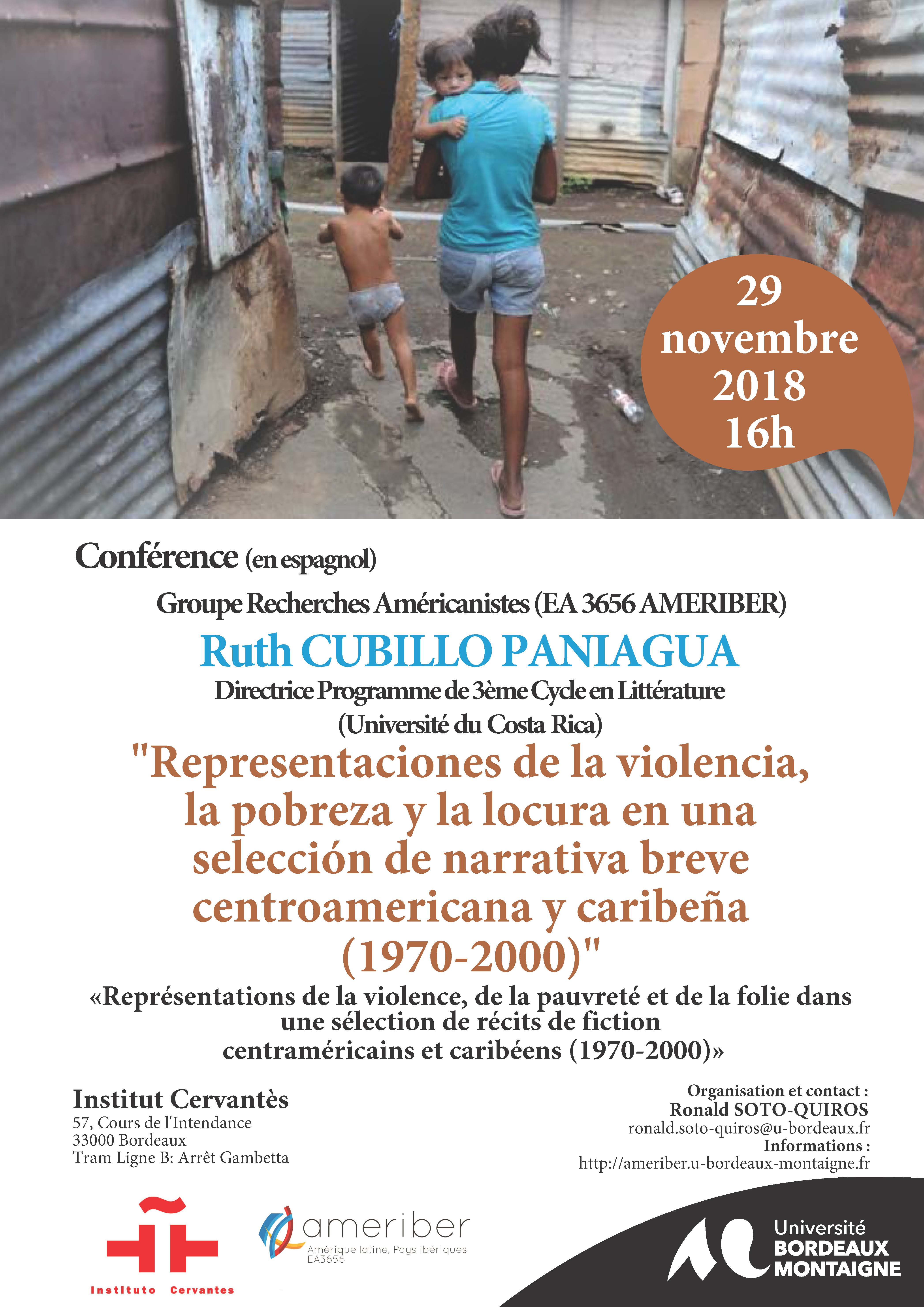 Affiche conférence Ruth Cubillo UCR 29 11 2018